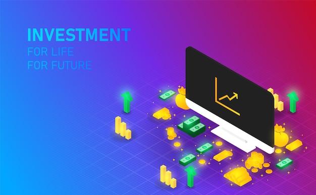 Investitionen auf dem bildschirm gewinnen geld und gold, um reich an vektoren und illustrationen zu sein