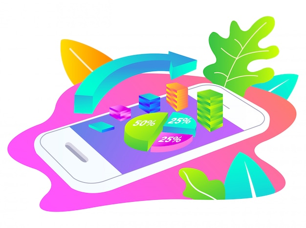 Investitionen mit einer smartphone-illustration getätigt