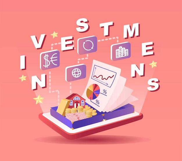 Investitionen-vektor-illustration geld sparen strategie wachsendes kapital