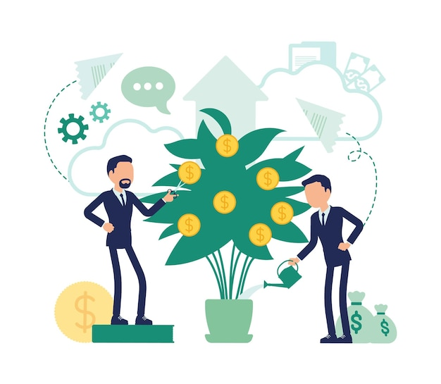 Investitions- und geschäftsdividenden. effiziente männliche manager bewässern geldbaum für größeren gewinn, firmenaktionäre züchten goldene münzen. abstrakte vektorgrafik mit gesichtslosem charakter