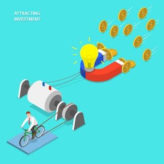 Investitionsattraktion flach isometrisch