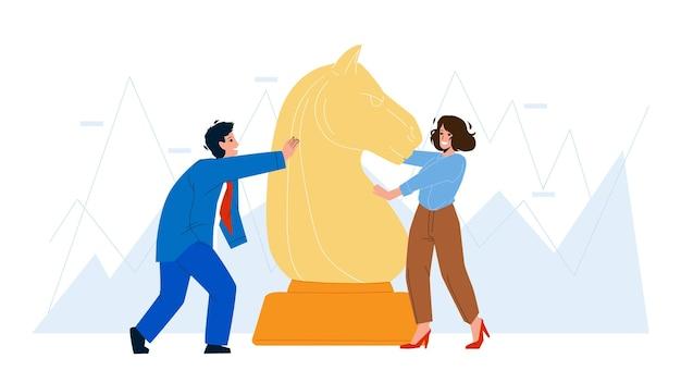 Investitionserfolg geschäftsberuf vektor. mann und frau spielen schach und bewegendes pferd, investitionen in startups oder immobilienhypotheken. charaktere geschäftsleute flache cartoon-illustration