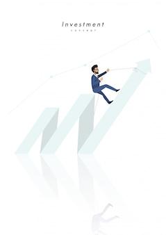 Investitionskonzept mit der geschäftsmannkarikatur, die zur spitze des pfeiles klettert