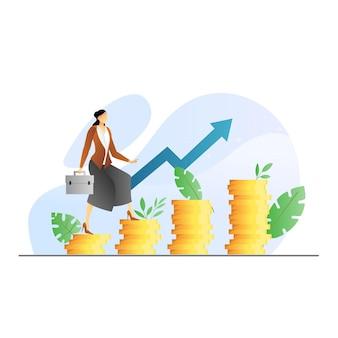 Investitionskonzept mit geschäftsfrau, die geldtreppen hinaufgeht und verschiedene schritte zum gewinn erzielen