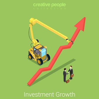 Investitionswachstum flach isometrische immobilien geschäftspartnerschaft deal-konzept zwei geschäftsleute handshake wachsende pfeil indikator bau transport manipulator