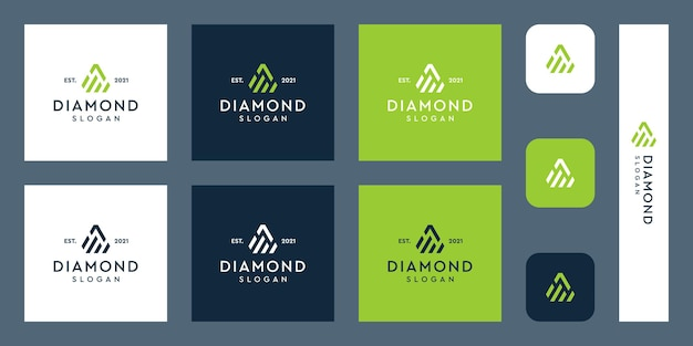 Investment-chart-logo mit abstrakter rautenform
