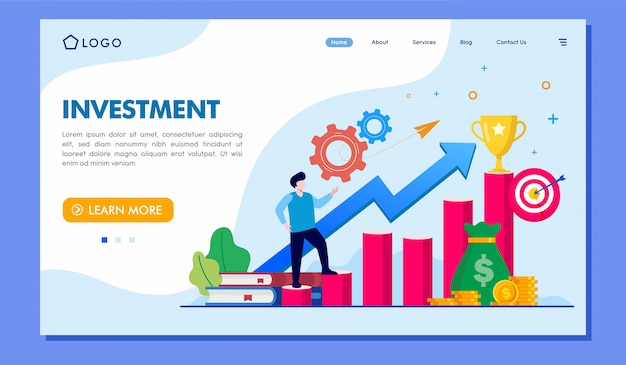 Investment landing page website abbildung