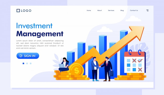 Investment management landing page website vorlage