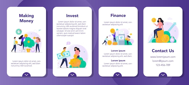 Investment mobile application banner set. geld verdienen konzept. idee zu investieren und wachstum zu finanzieren. geldbaum mit währung darauf, ersparnisse und bankgeschäfte.