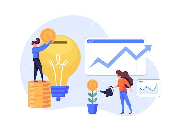 Investment und finanzen flache illustration