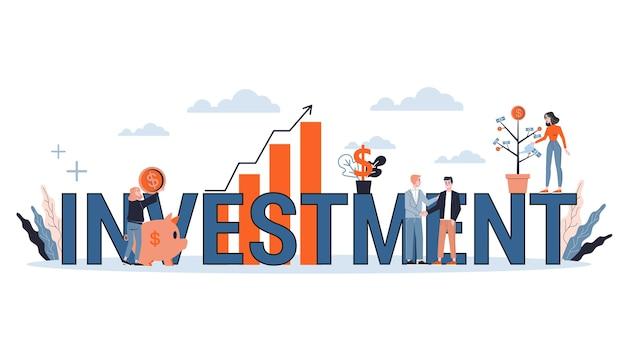 Investment web banner konzept. idee der geldsteigerung und finanzierung des wachstums. geschäftsgewinn. illustration mit stil