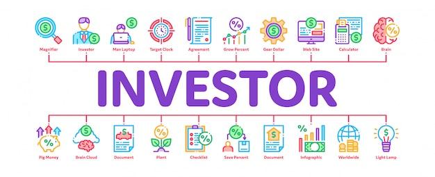 Investor finanzielle minimale infographik banner