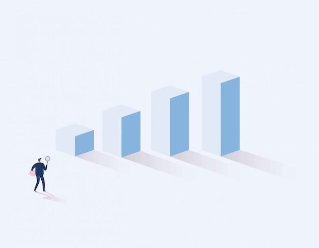 Investor. geschäftsmann, der nach der investitionsmöglichkeit steht auf wachstumsdiagramm sucht