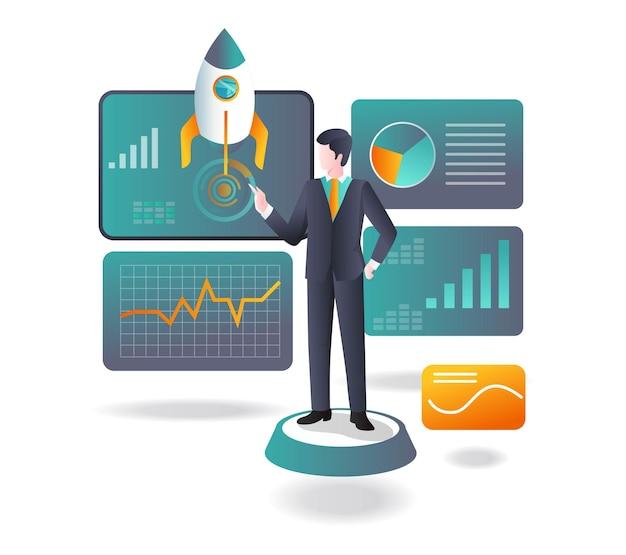 Investoren analysieren daten, indem sie raketen starten