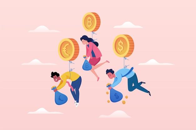 Investoren, die an goldene kryptowährungsballons-vektorillustration gebunden sind
