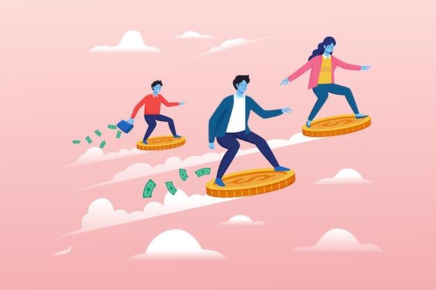 Investoren fliegen mit goldmünzen-vektor-illustration