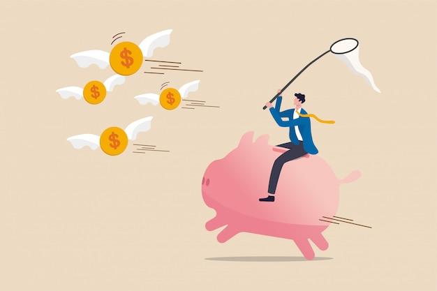 Investorenrendite in aktienmarktinvestitionen in finanzkrise, geldverlust im wirtschaftlichen zusammenbruch oder suche nach renditekonzept, investor mann reitet rosa sparschwein, das fliegende dollarmünzengeld fängt.