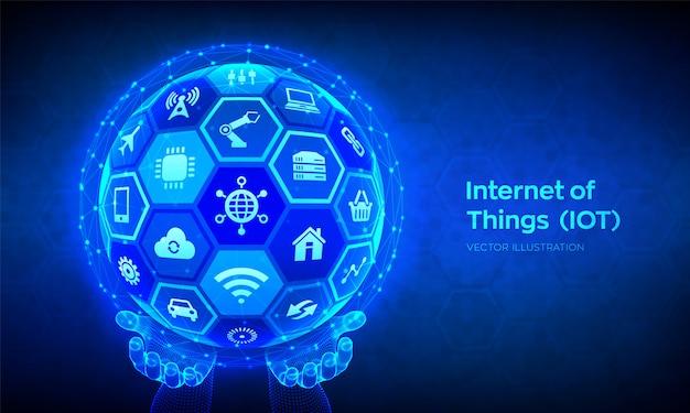 Iot. internet der dinge konzept. abstrakte 3d-kugel oder kugel mit oberfläche der sechsecke in drahtgitterhänden.