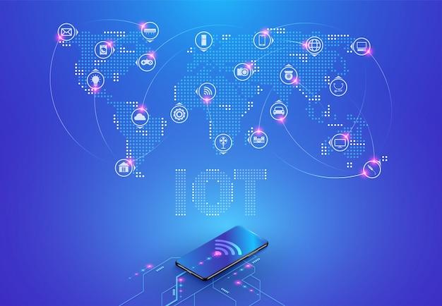 (iot) internet der dinge und netzwerkverbindung