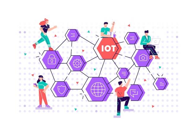 Iot-konzept. internet der dinge. netzwerk. alles konnektivitätsgerätekonzept, geschäft mit dem internet, mit kleinen leuten in der nähe. flache art designillustration für web, druck, präsentation.