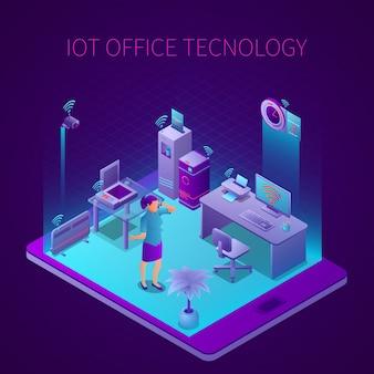 Iot-technologie bei isometrischer zusammensetzung des büroarbeitsplatzes auf bildschirmvektorillustration des mobilen geräts