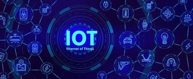 Iot-technologie. digitales banner für das internet der dinge oder das netzwerk von smart home-geräten mit symbolen. futuristisches vektorkonzept für die innovationsindustrie. illustrationstechnologie digital, strom und internet