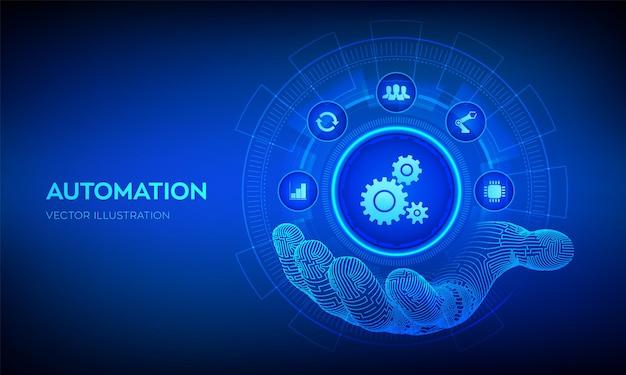 Iot- und automatisierungssoftwarekonzept als innovation zur verbesserung der produktivität in technologie- und geschäftsprozessen. automatisierungssymbol in der roboterhand. vektor-illustration.
