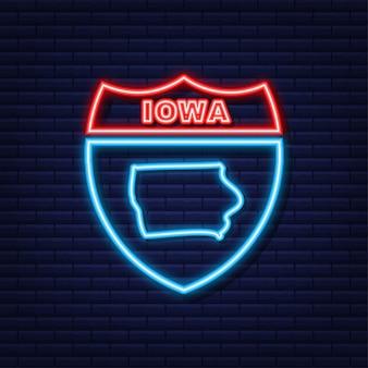 Iowa state map umriss-neon-symbol. vektor-illustration.