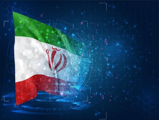 Iran, 3d-flagge auf blauem hintergrund mit hud-schnittstellen