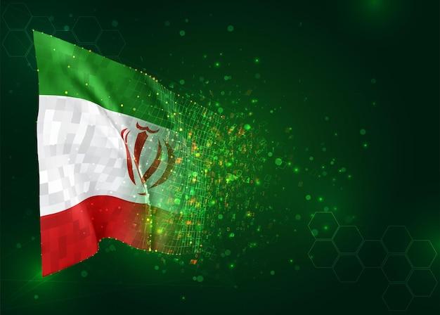 Iran, 3d-flagge auf grünem hintergrund mit polygonen