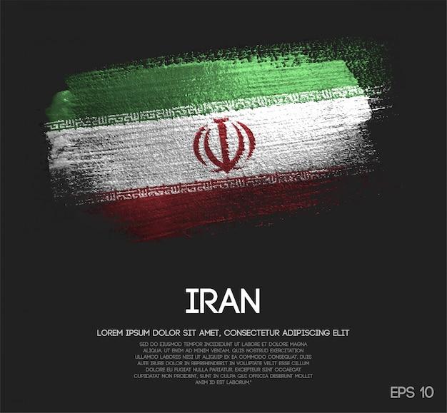 Iran flagge aus glitter sparkle pinsel farbe