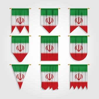 Iran flagge in verschiedenen formen, flagge des iran in verschiedenen formen