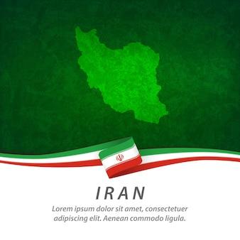Iran-flagge mit zentraler karte