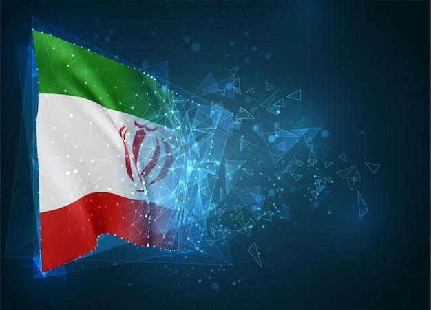Iran, flagge, virtuelles abstraktes 3d-objekt aus dreieckigen polygonen auf blauem hintergrund