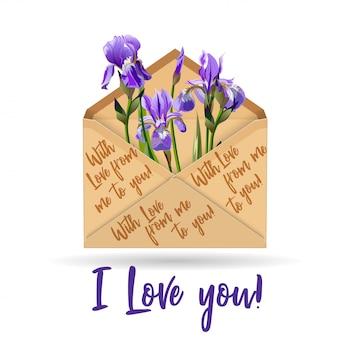 Iris aus kraftpapierumschlag