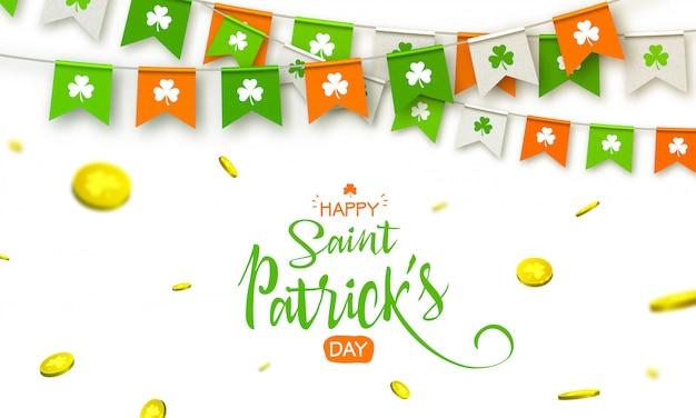 Irischer feiertag - glücklicher heiliges patrick day-hintergrund mit girlandenflaggen und -münzen