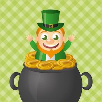 Irischer kobold, der aus einen großen kessel mit münzen herauskommt.