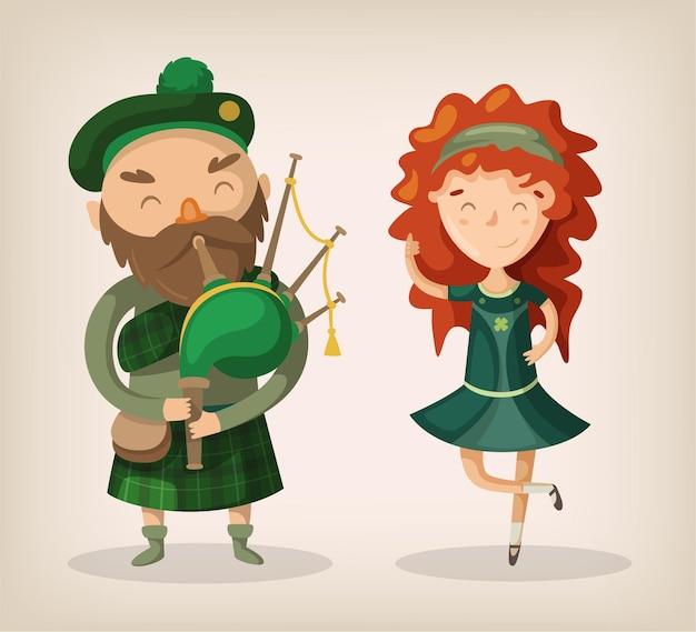 Irischer kühner mann mit bart in der traditionellen kiltuniform spielen dudelsack und rothaariges mädchen tanzen und lächeln