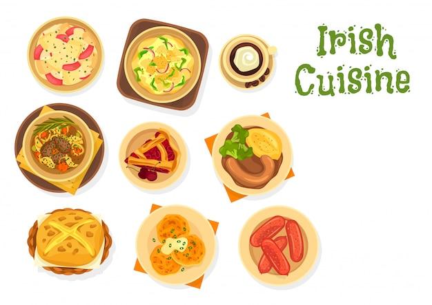 Irisches essen von fleisch und gemüse, brot, kirschkuchen