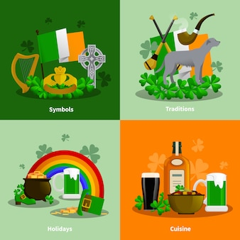 Irland 2x2 flache reihe von küche traditionen simbols urlaub dekorative kompositionen