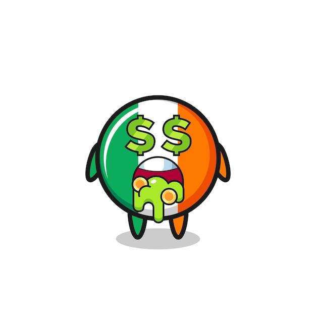 Irland-flagge-abzeichen-charakter mit einem ausdruck von verrückt nach geld, süßem design für t-shirt, aufkleber, logo-element