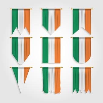 Irland flagge mit verschiedenen formen, flagge von irland in verschiedenen formen