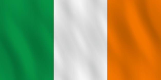 Irland-flagge mit wehender wirkung, amtlicher anteil.
