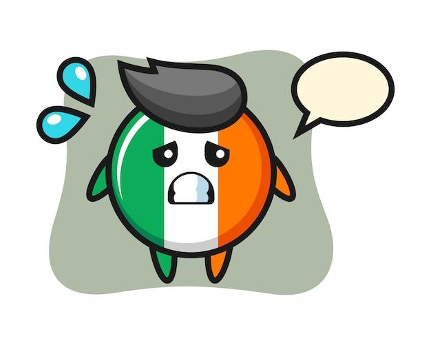 Irland flaggenabzeichen maskottchen charakter mit ängstlicher geste