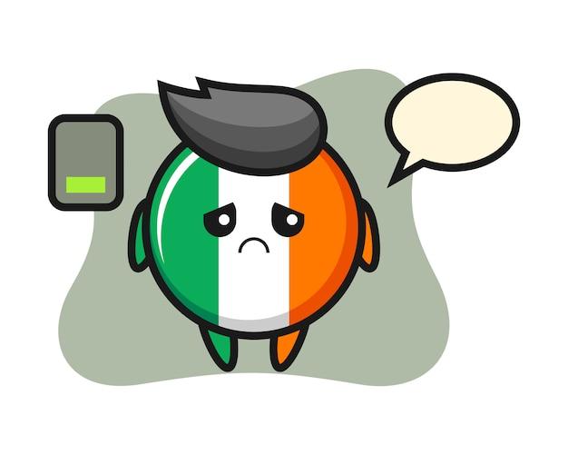 Irland-flaggenabzeichen-maskottchencharakter, der eine müde geste tut