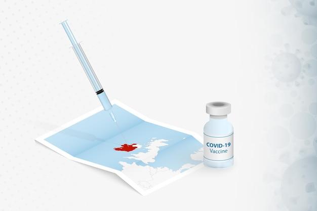 Irland-impfung, injektion mit covid-19-impfstoff in der karte von irland.