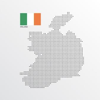 Irland-kartenentwurf mit flaggen- und hellem hintergrundvektor