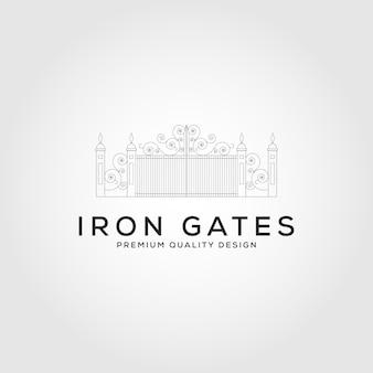 Iron gate line logo vektor symbol illustration design, minimales logo-design.