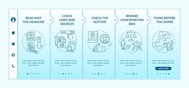 Irreführende informationen zur überprüfung der onboarding-vorlage. überprüfen von links, quellen. bestätigungsfehler. reaktionsschnelle mobile website mit symbolen. walkthrough-schrittbildschirme für webseiten.
