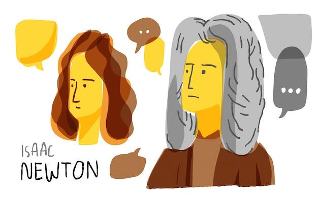 Isaac newton in gelber und schwarzer skizze